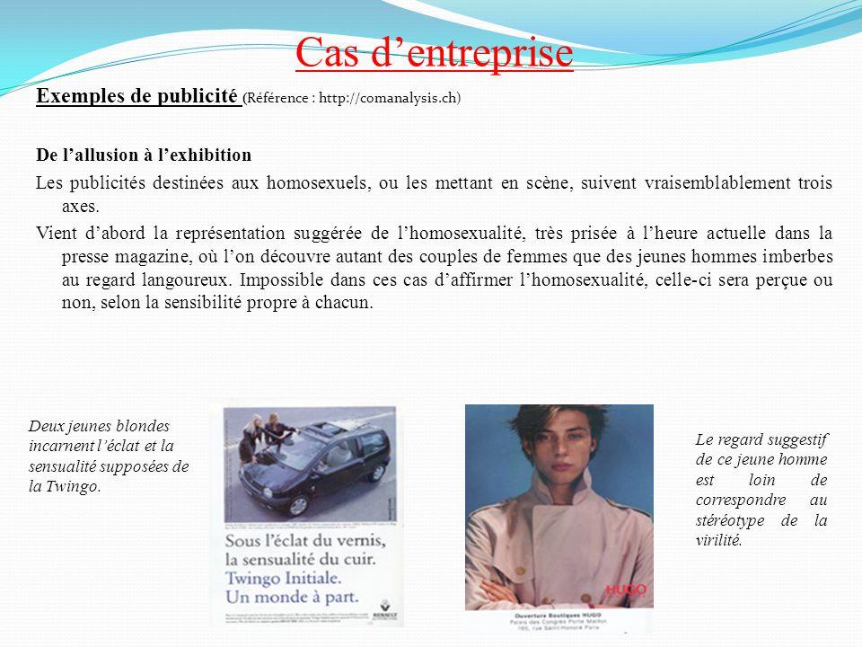 Cas dentreprise Exemples de publicité ( Référence : http://comanalysis.ch) De lallusion à lexhibition Les publicités destinées aux homosexuels, ou les