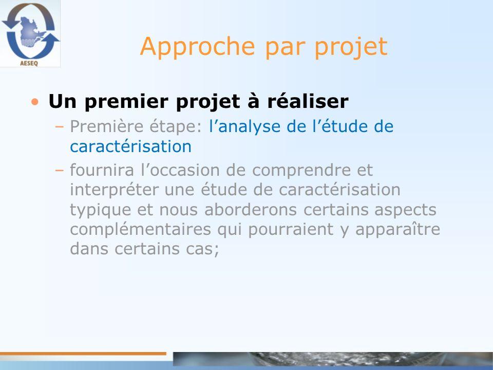 Approche par projet Un premier projet à réaliser –Première étape: lanalyse de létude de caractérisation –fournira loccasion de comprendre et interprét