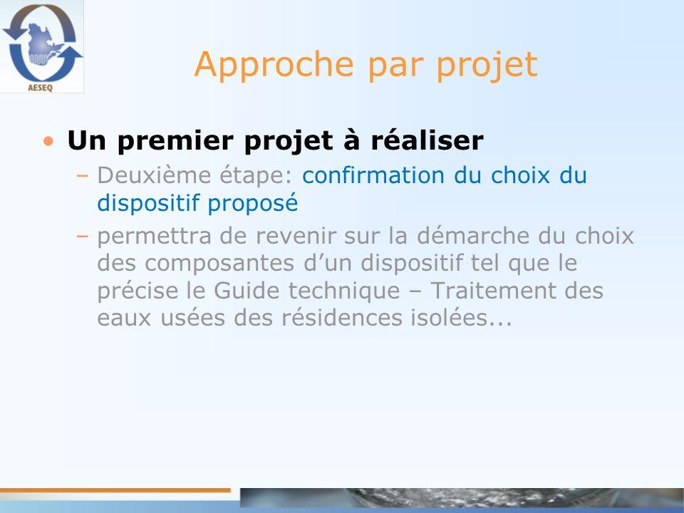Approche par projet Un premier projet à réaliser –Deuxième étape: confirmation du choix du dispositif proposé –permettra de revenir sur la démarche du