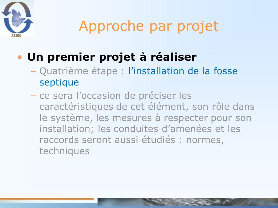 Approche par projet Un premier projet à réaliser –Quatrième étape : linstallation de la fosse septique –ce sera loccasion de préciser les caractéristi