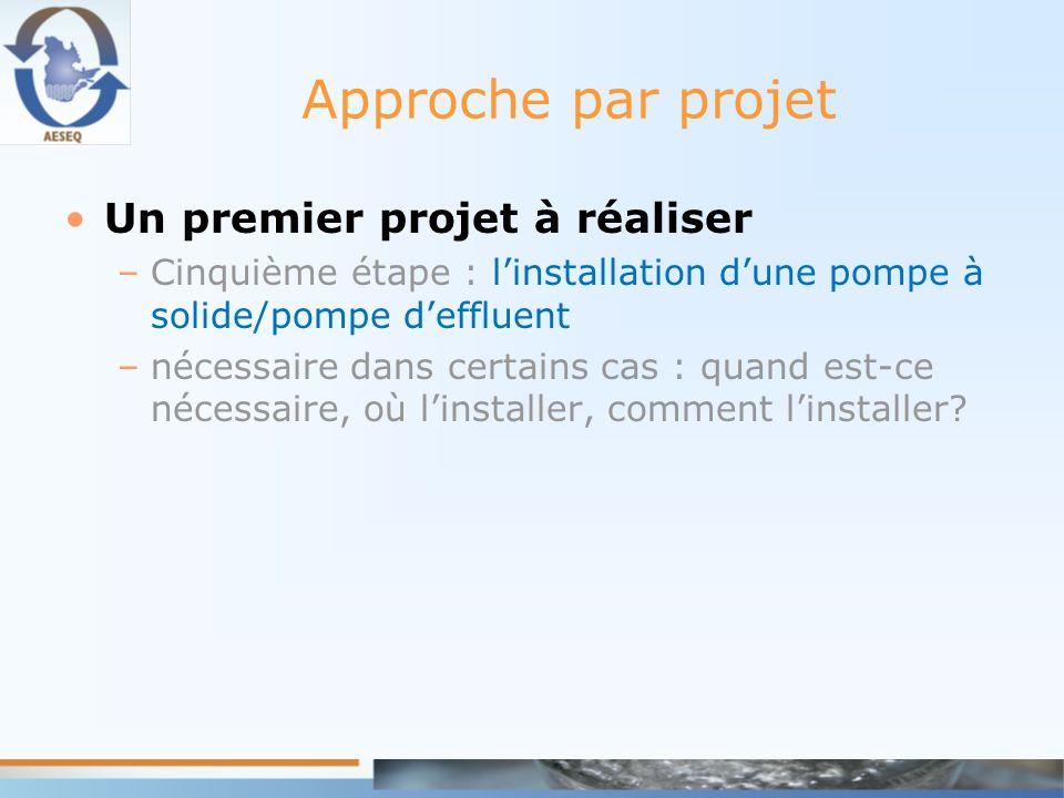 Approche par projet Un premier projet à réaliser –Cinquième étape : linstallation dune pompe à solide/pompe deffluent –nécessaire dans certains cas :