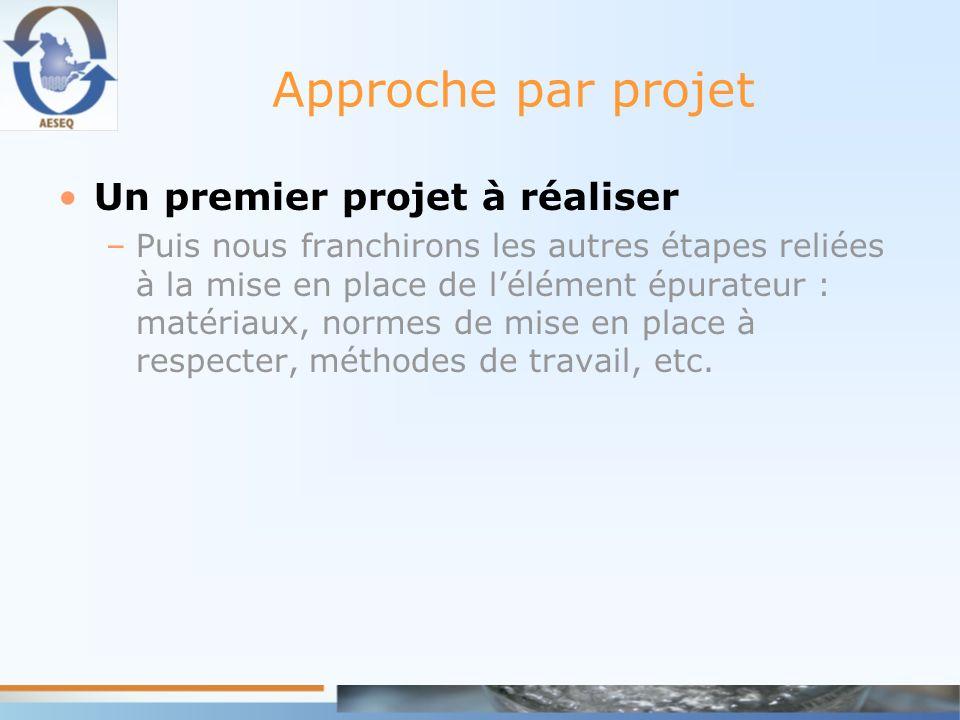 Approche par projet Un premier projet à réaliser –Puis nous franchirons les autres étapes reliées à la mise en place de lélément épurateur : matériaux