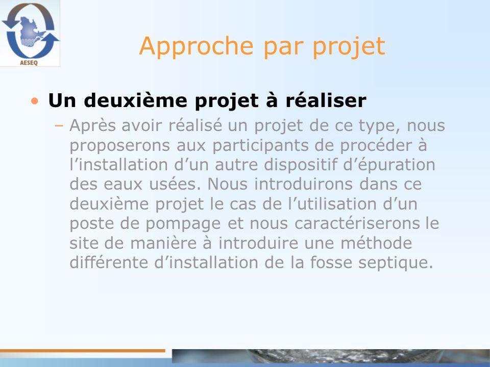 Approche par projet Un deuxième projet à réaliser –Après avoir réalisé un projet de ce type, nous proposerons aux participants de procéder à linstalla