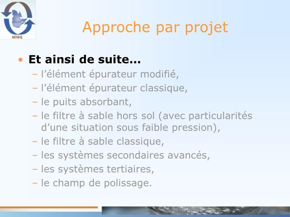 Approche par projet Et ainsi de suite... –lélément épurateur modifié, –lélément épurateur classique, –le puits absorbant, –le filtre à sable hors sol