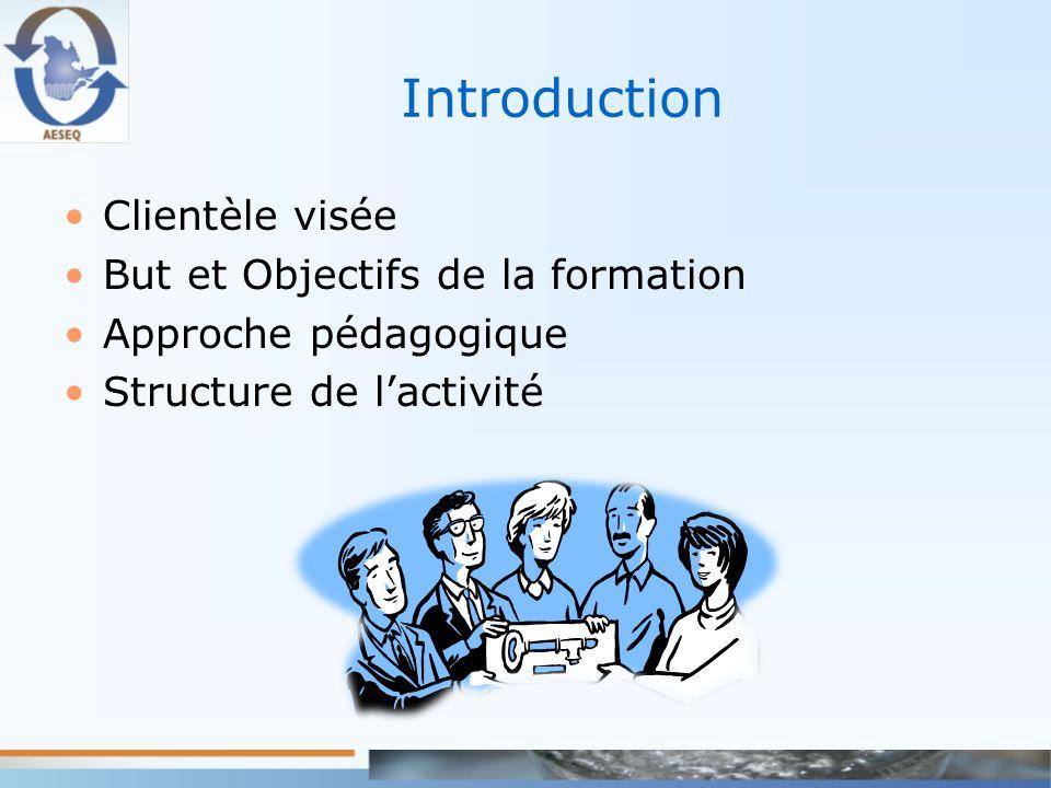 Introduction Clientèle visée But et Objectifs de la formation Approche pédagogique Structure de lactivité