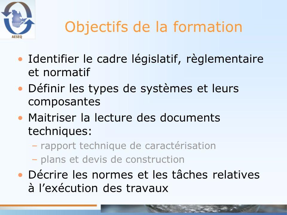 Objectifs de la formation Identifier le cadre législatif, règlementaire et normatif Définir les types de systèmes et leurs composantes Maitriser la le