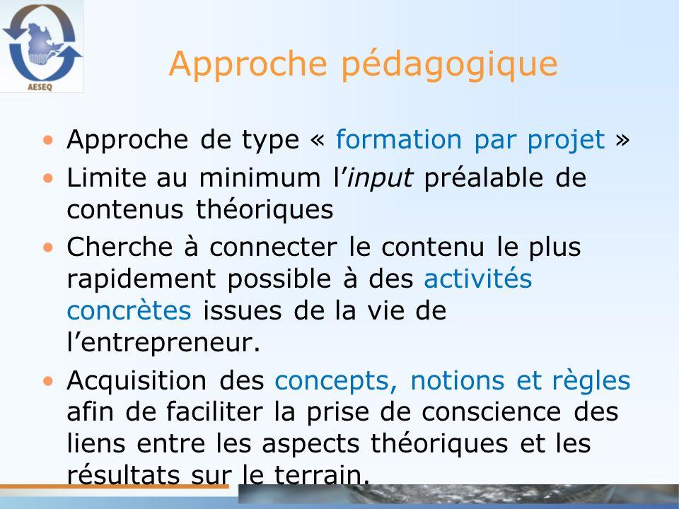 Approche pédagogique Approche de type « formation par projet » Limite au minimum linput préalable de contenus théoriques Cherche à connecter le conten