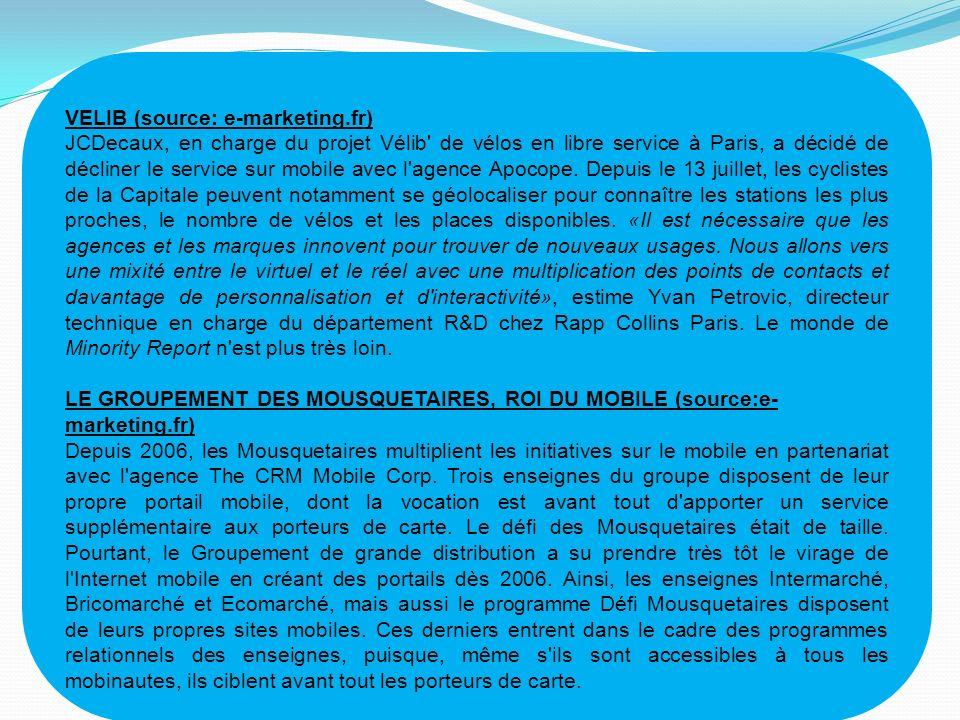 VELIB (source: e-marketing.fr) JCDecaux, en charge du projet Vélib' de vélos en libre service à Paris, a décidé de décliner le service sur mobile avec