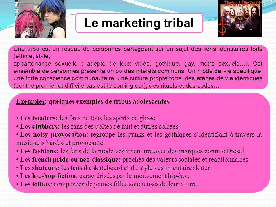 Une tribu est un réseau de personnes partageant sur un sujet des liens identitaires forts (ethnie, style, appartenance sexuelle : adepte de jeux vidéo, gothique, gay, métro sexuels…).