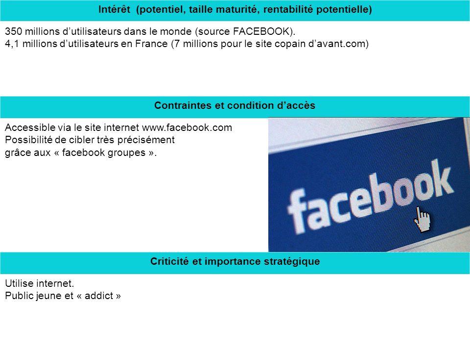 Intérêt (potentiel, taille maturité, rentabilité potentielle) 350 millions dutilisateurs dans le monde (source FACEBOOK).