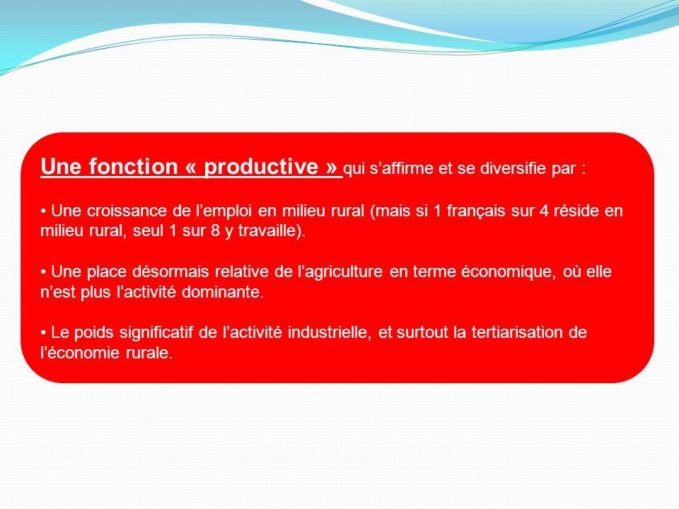 Une fonction « productive » qui saffirme et se diversifie par : Une croissance de lemploi en milieu rural (mais si 1 français sur 4 réside en milieu r