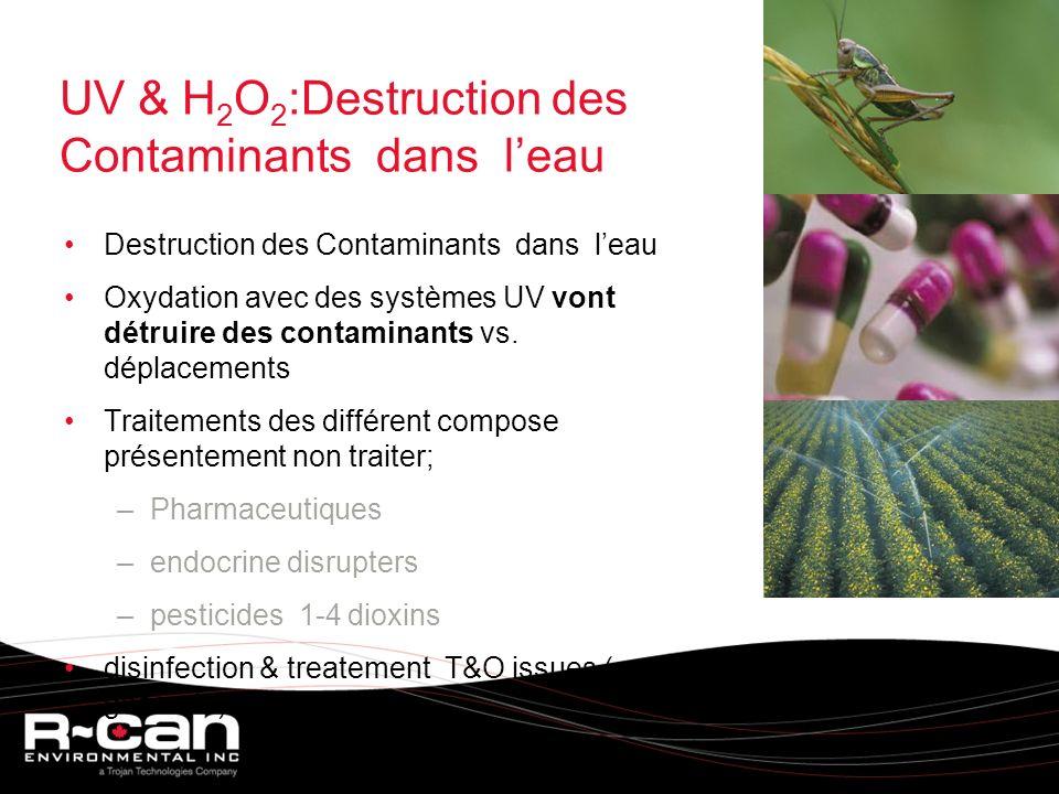 UV & H 2 O 2 :Destruction des Contaminants dans leau Destruction des Contaminants dans leau Oxydation avec des systèmes UV vont détruire des contaminants vs.