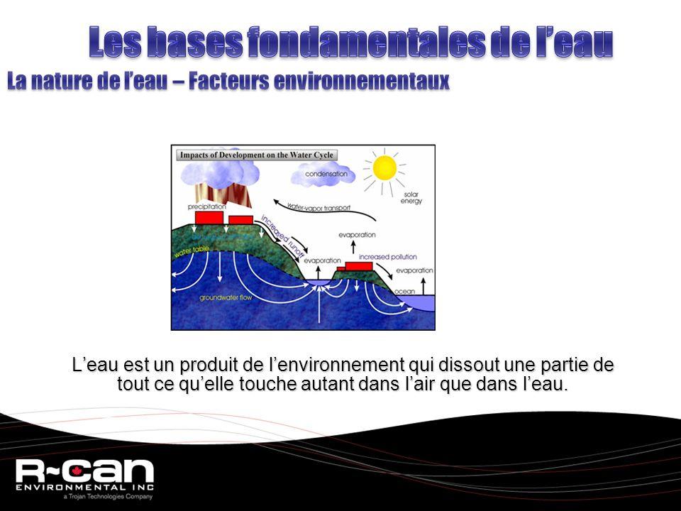 Leau est un produit de lenvironnement qui dissout une partie de tout ce quelle touche autant dans lair que dans leau.