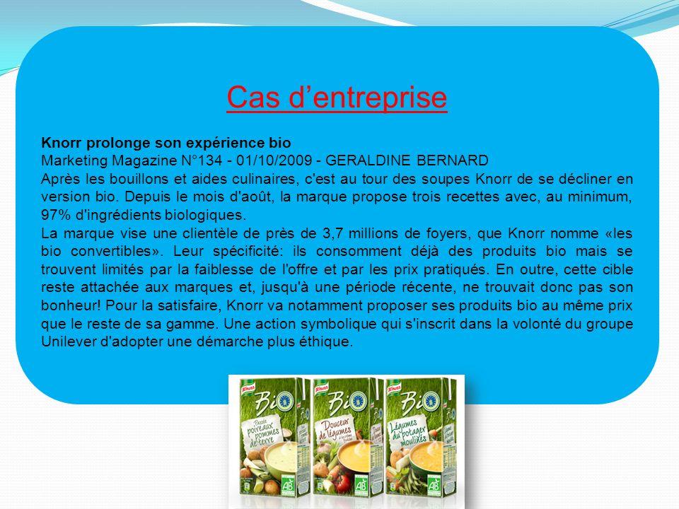 Cas dentreprise Knorr prolonge son expérience bio Marketing Magazine N°134 - 01/10/2009 - GERALDINE BERNARD Après les bouillons et aides culinaires, c est au tour des soupes Knorr de se décliner en version bio.
