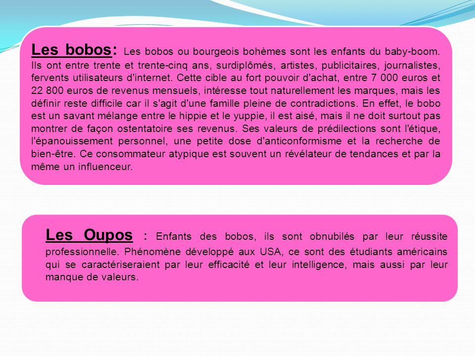 Les bobos: Les bobos ou bourgeois bohèmes sont les enfants du baby-boom. Ils ont entre trente et trente-cinq ans, surdiplômés, artistes, publicitaires