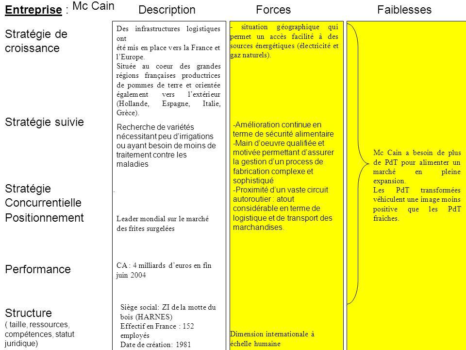 Entreprise : Stratégie suivie Stratégie de croissance ForcesFaiblesses Performance Structure ( taille, ressources, compétences, statut juridique) Stra