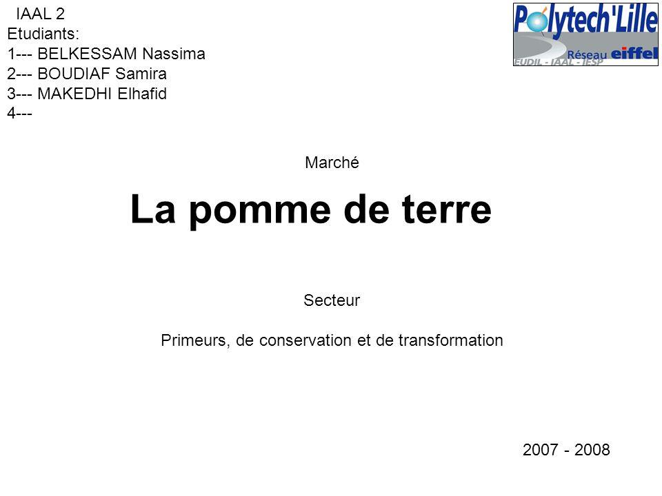 Marché La pomme de terre IAAL 2 Etudiants: 1--- BELKESSAM Nassima 2--- BOUDIAF Samira 3--- MAKEDHI Elhafid 4--- 2007 - 2008 Secteur Primeurs, de conse