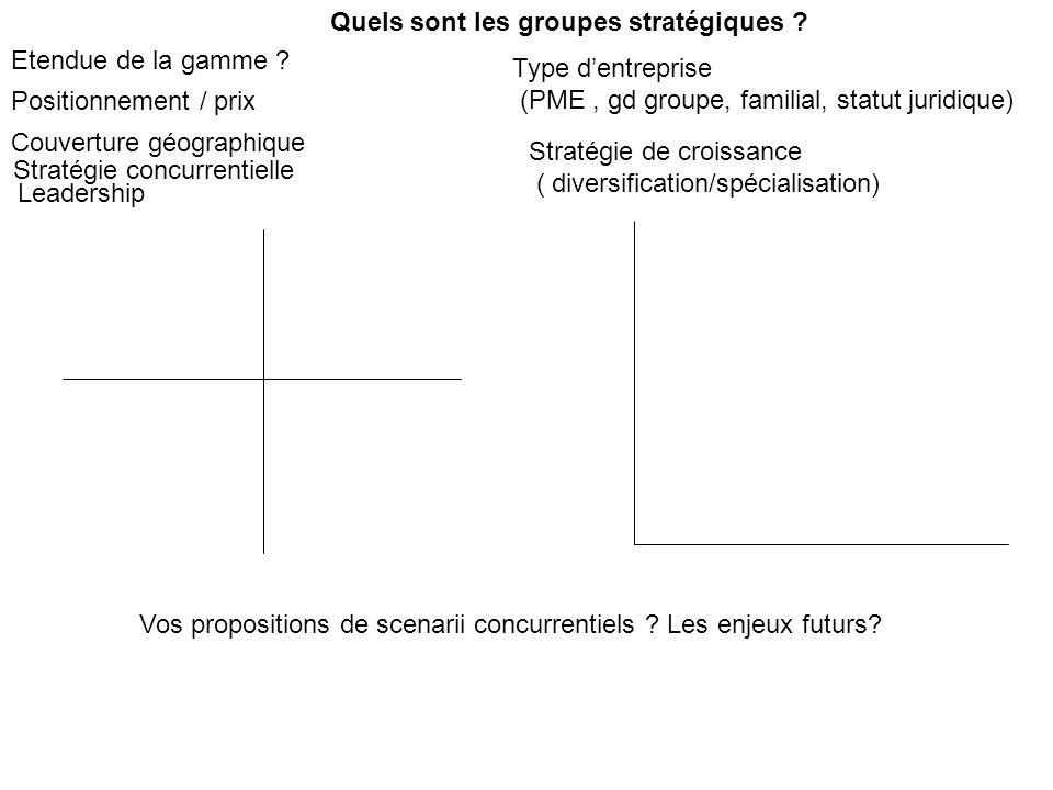 Quels sont les groupes stratégiques ? Etendue de la gamme ? Couverture géographique Positionnement / prix Type dentreprise (PME, gd groupe, familial,