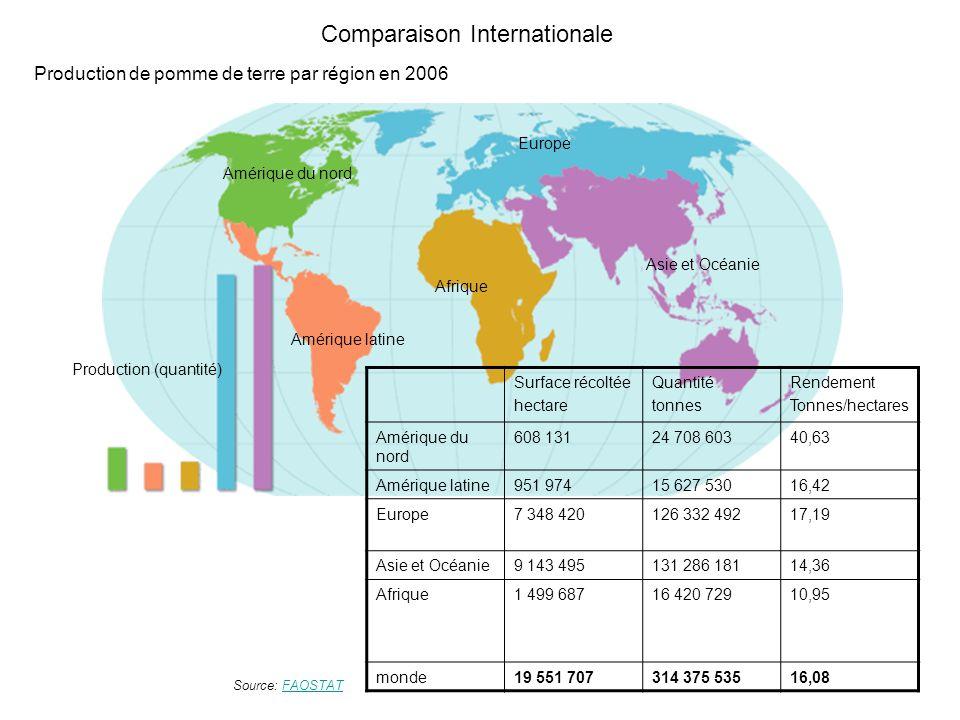 Comparaison Internationale Amérique latine Amérique du nord Afrique Asie et Océanie Europe Production (quantité) Surface récoltée hectare Quantité ton