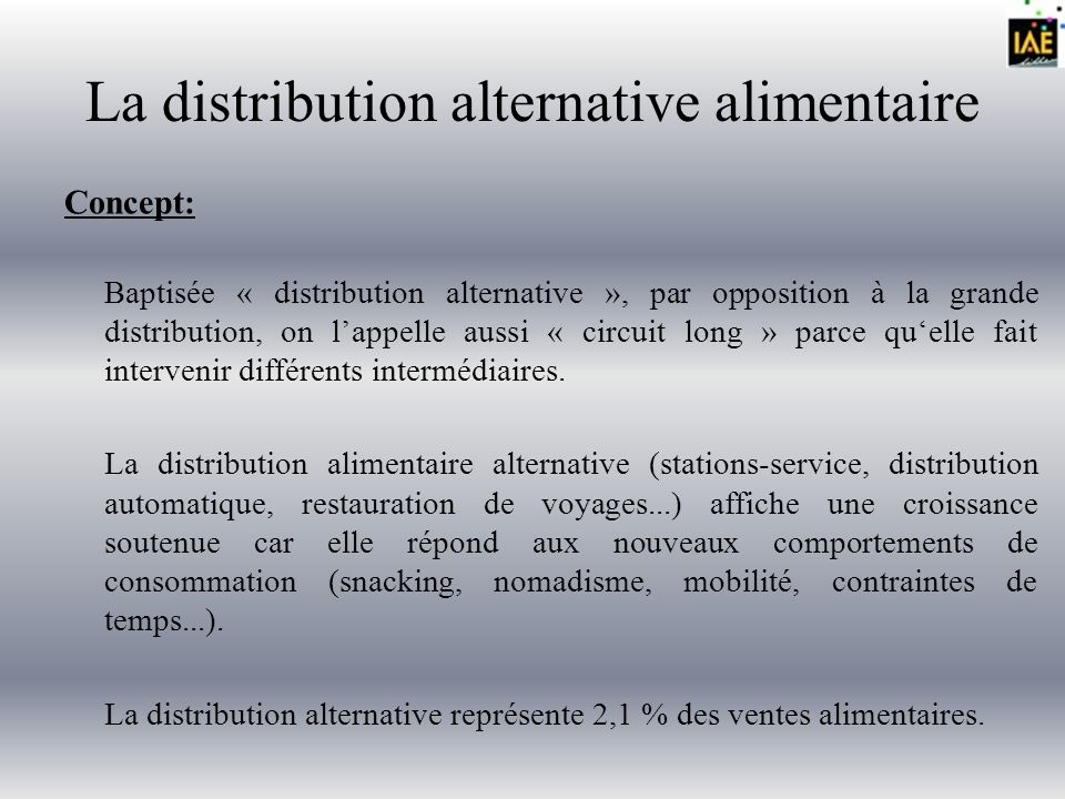 La distribution alternative alimentaire Problématique: Comment se lancer dans la distribution alternative?