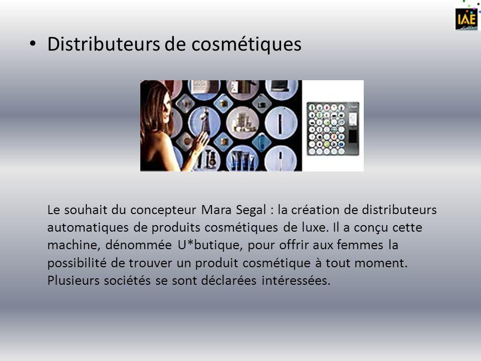 Distributeurs de cosmétiques Le souhait du concepteur Mara Segal : la création de distributeurs automatiques de produits cosmétiques de luxe. Il a con
