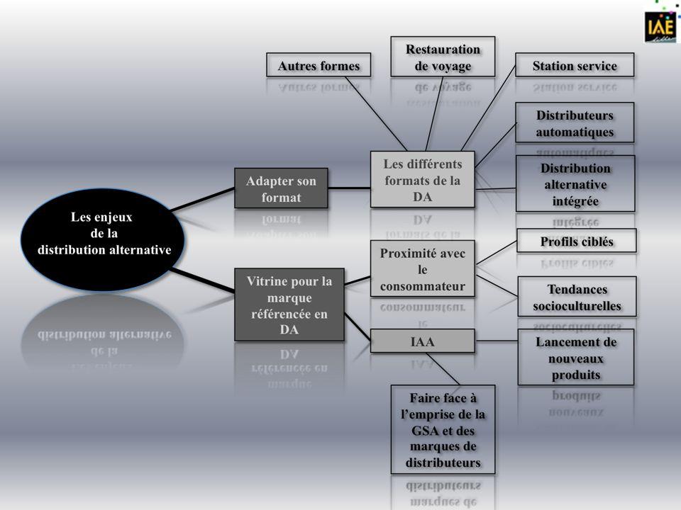 Enjeux I.Adapter son format Les différents formats : - La distribution alternative intégrée (propre à une enseigne) - La restauration de voyage - Les stations services - Les distributeurs automatiques - Les autres et nouveaux formats