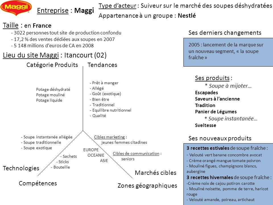 Entreprise : Maggi Ses derniers changements Type dacteur : Suiveur sur le marché des soupes déshydratées Marchés cibles Zones géographiques Catégorie