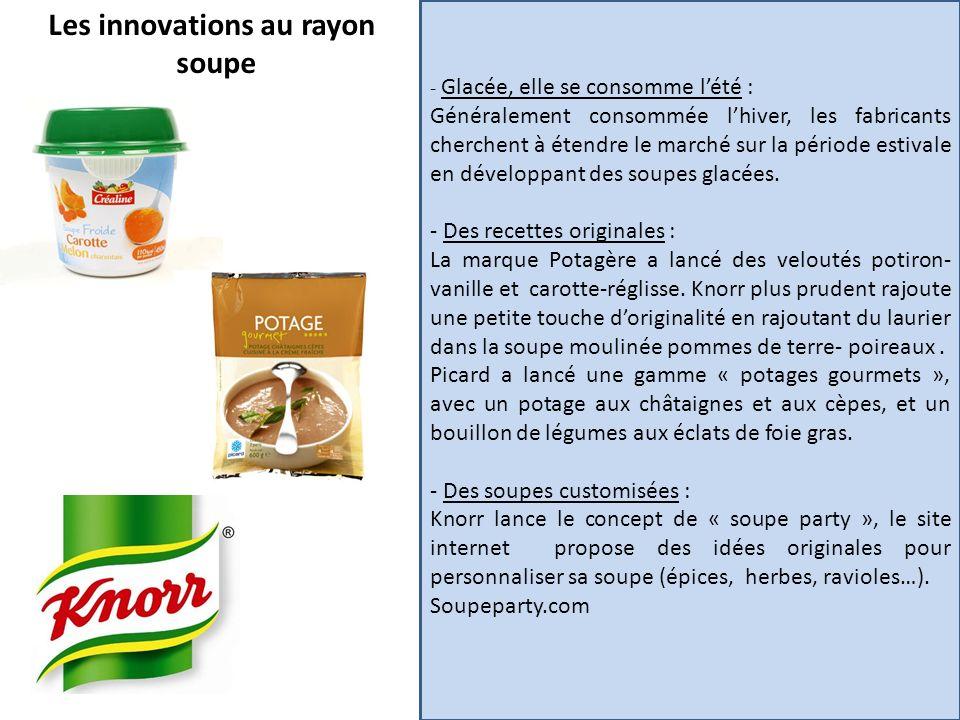 Les innovations au rayon soupe - Glacée, elle se consomme lété : Généralement consommée lhiver, les fabricants cherchent à étendre le marché sur la pé
