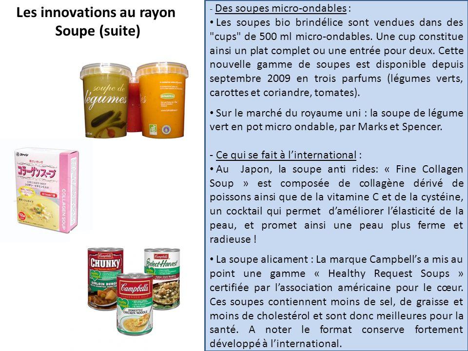 Les innovations au rayon Soupe (suite) - Des soupes micro-ondables : Les soupes bio brindélice sont vendues dans des