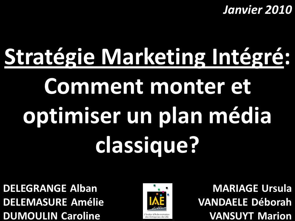Stratégie Marketing Intégré: Comment monter et optimiser un plan média classique? DELEGRANGE Alban DELEMASURE Amélie DUMOULIN Caroline MARIAGE Ursula