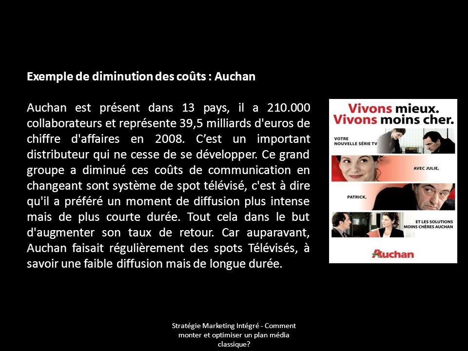 Stratégie Marketing Intégré - Comment monter et optimiser un plan média classique? Exemple de diminution des coûts : Auchan Auchan est présent dans 13