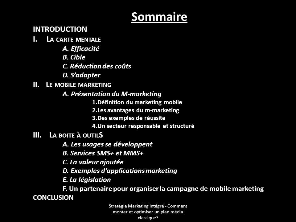 Stratégie Marketing Intégré - Comment monter et optimiser un plan média classique? Sommaire INTRODUCTION I. L A CARTE MENTALE A. Efficacité B. Cible C