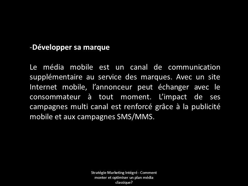 Stratégie Marketing Intégré - Comment monter et optimiser un plan média classique? -Développer sa marque Le média mobile est un canal de communication