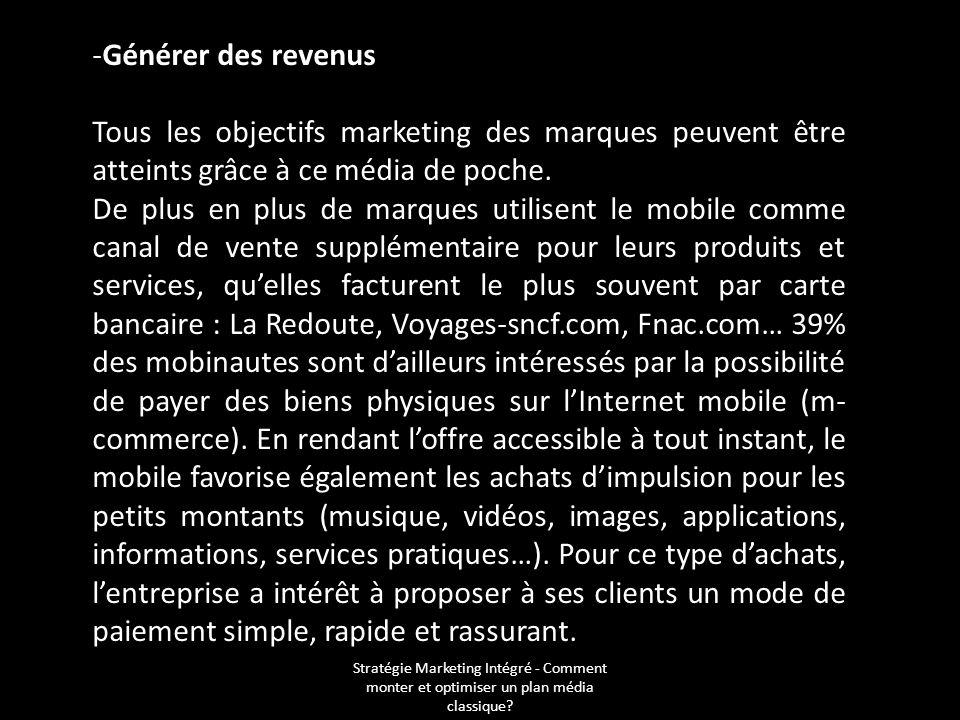 Stratégie Marketing Intégré - Comment monter et optimiser un plan média classique? -Générer des revenus Tous les objectifs marketing des marques peuve
