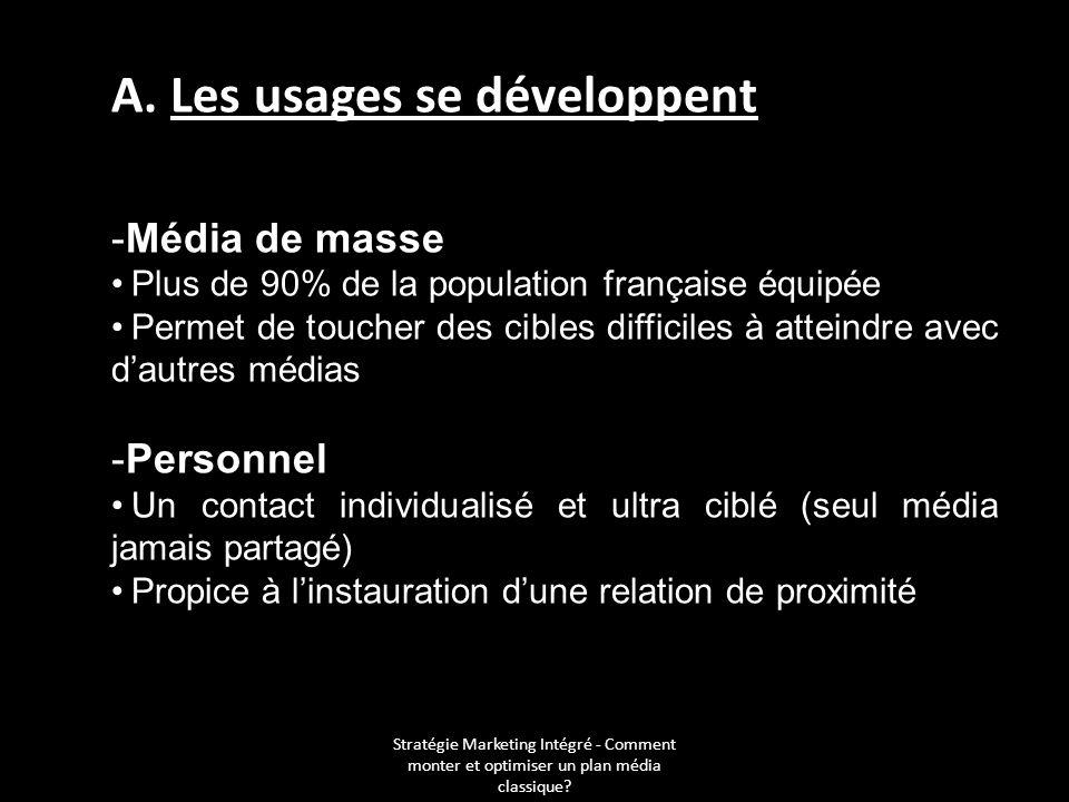 Stratégie Marketing Intégré - Comment monter et optimiser un plan média classique? A. Les usages se développent -Média de masse Plus de 90% de la popu