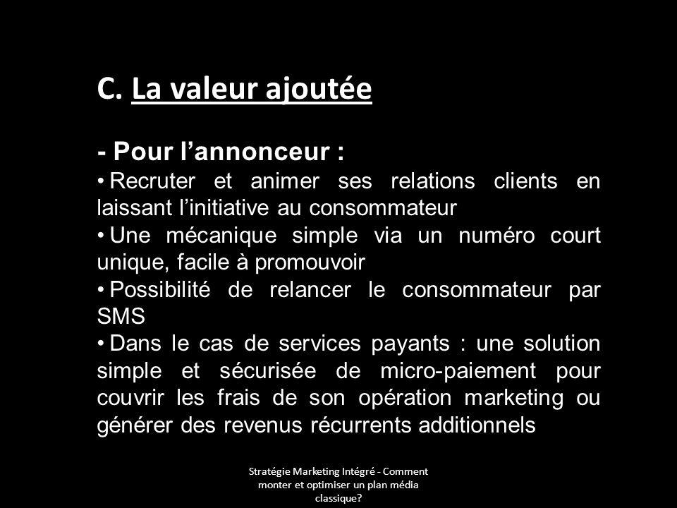 C. La valeur ajoutée - Pour lannonceur : Recruter et animer ses relations clients en laissant linitiative au consommateur Une mécanique simple via un