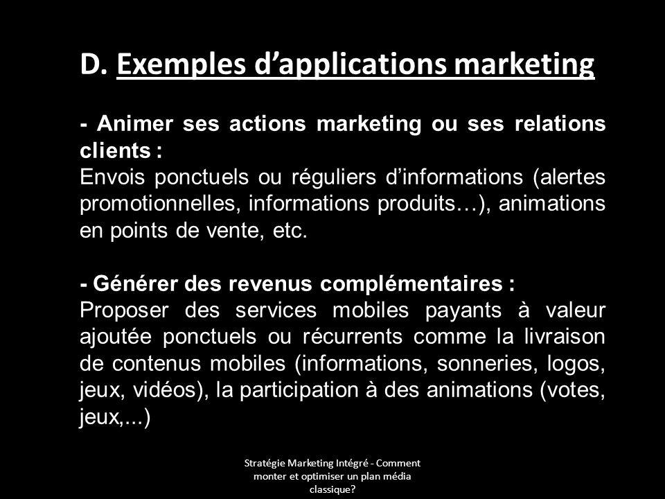 Stratégie Marketing Intégré - Comment monter et optimiser un plan média classique? D. Exemples dapplications marketing - Animer ses actions marketing