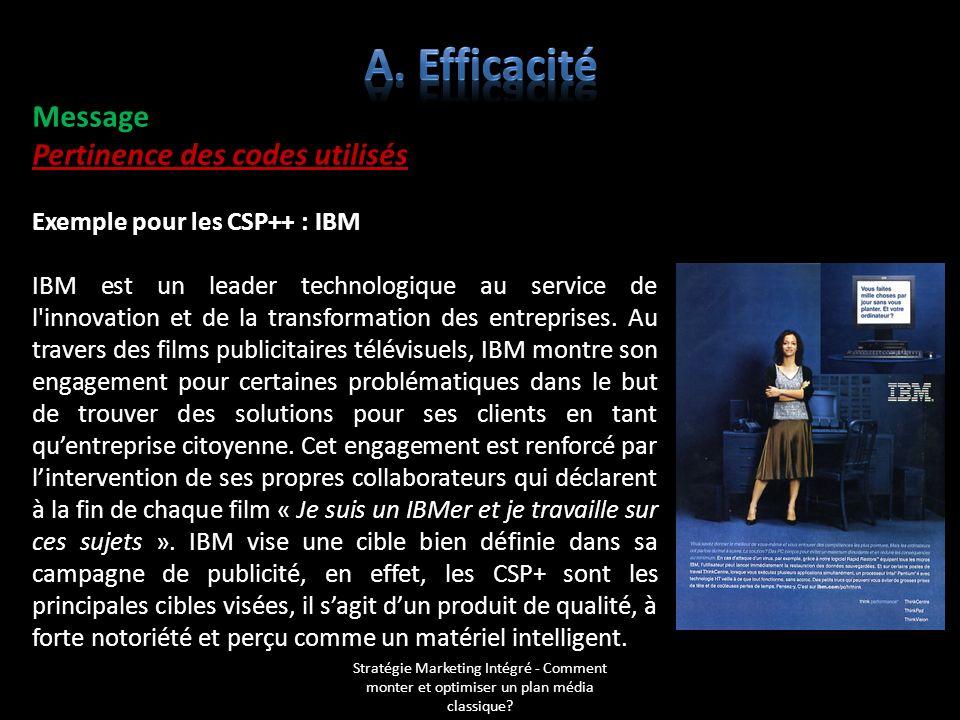 Message Pertinence des codes utilisés Exemple pour les CSP++ : IBM IBM est un leader technologique au service de l'innovation et de la transformation