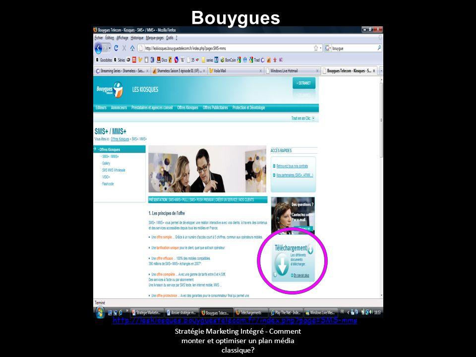 Stratégie Marketing Intégré - Comment monter et optimiser un plan média classique? http://leskiosques.bouyguestelecom.fr/index.php?page=SMS-mms Bouygu