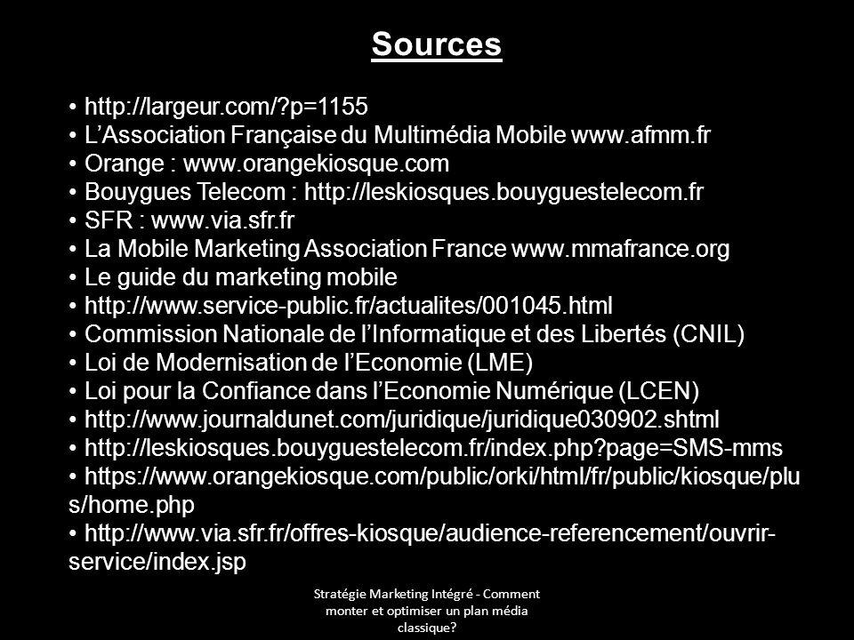Stratégie Marketing Intégré - Comment monter et optimiser un plan média classique? Sources http://largeur.com/?p=1155 LAssociation Française du Multim
