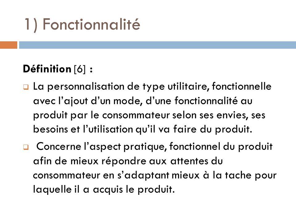 1) Fonctionnalité Définition [6] : La personnalisation de type utilitaire, fonctionnelle avec lajout dun mode, dune fonctionnalité au produit par le c