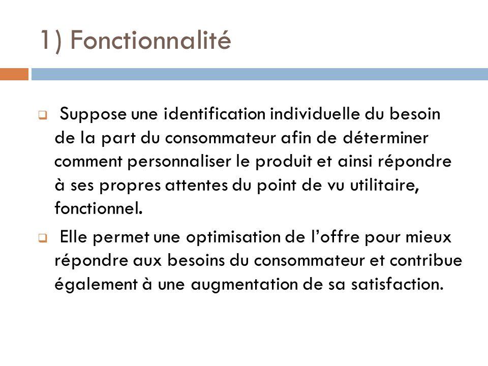1) Fonctionnalité Suppose une identification individuelle du besoin de la part du consommateur afin de déterminer comment personnaliser le produit et