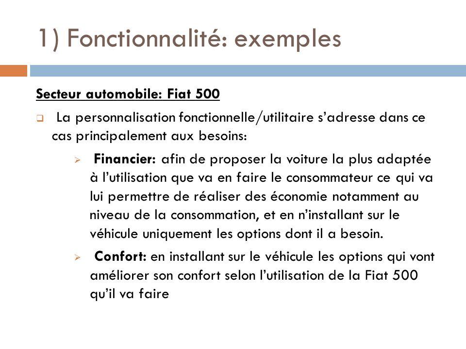 1) Fonctionnalité: exemples Secteur automobile: Fiat 500 La personnalisation fonctionnelle/utilitaire sadresse dans ce cas principalement aux besoins: