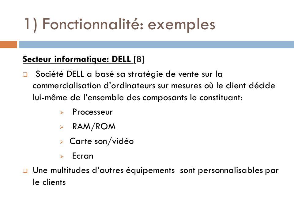 1) Fonctionnalité: exemples Secteur informatique: DELL [8] Société DELL a basé sa stratégie de vente sur la commercialisation dordinateurs sur mesures