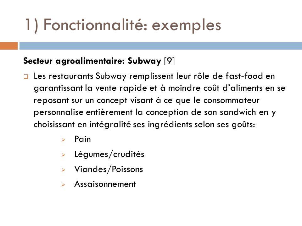 1) Fonctionnalité: exemples Secteur agroalimentaire: Subway [9] Les restaurants Subway remplissent leur rôle de fast-food en garantissant la vente rap