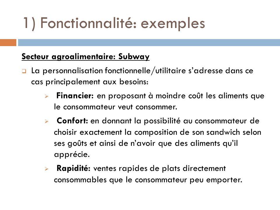 1) Fonctionnalité: exemples Secteur agroalimentaire: Subway La personnalisation fonctionnelle/utilitaire sadresse dans ce cas principalement aux besoi