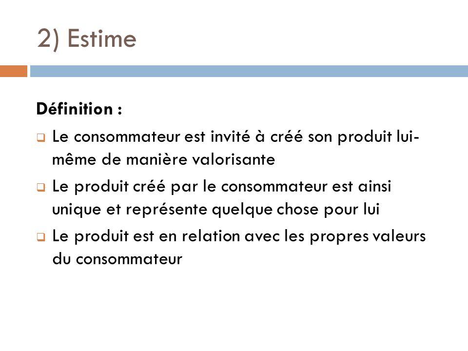 2) Estime Définition : Le consommateur est invité à créé son produit lui- même de manière valorisante Le produit créé par le consommateur est ainsi un