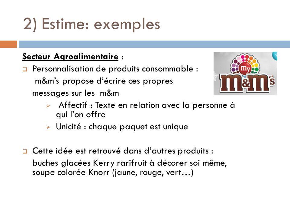 2) Estime: exemples Secteur Agroalimentaire : Personnalisation de produits consommable : m&ms propose décrire ces propres messages sur les m&m Affecti