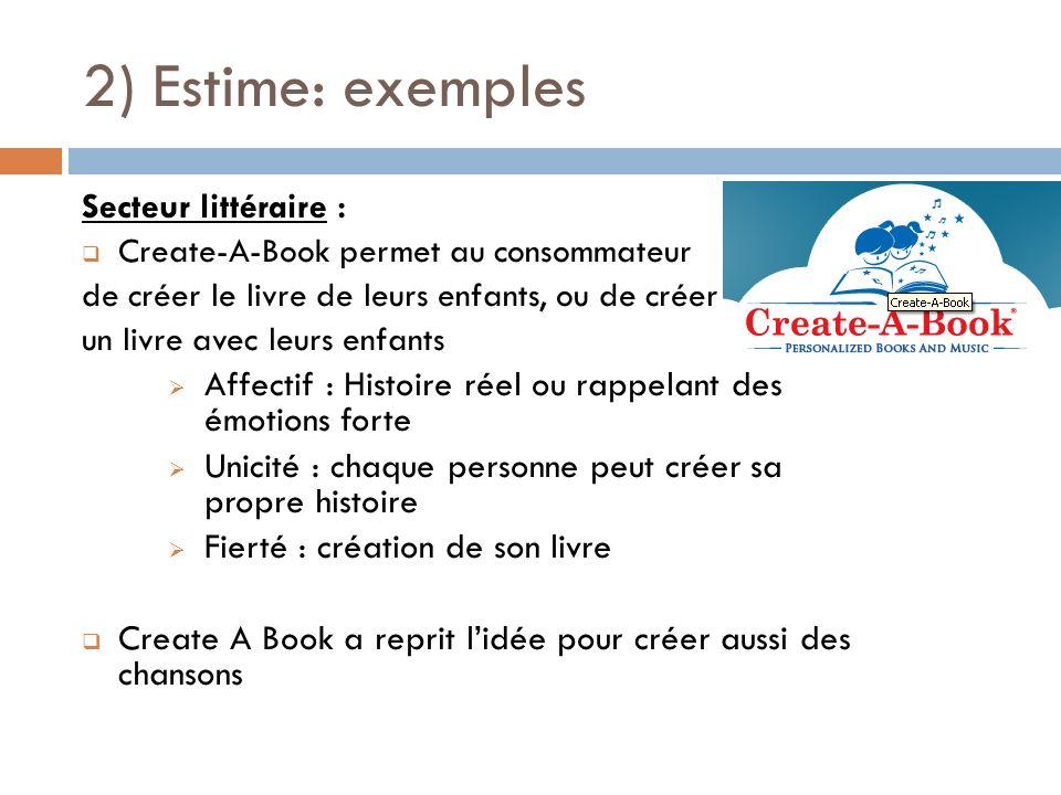 2) Estime: exemples Secteur littéraire : Create-A-Book permet au consommateur de créer le livre de leurs enfants, ou de créer un livre avec leurs enfa