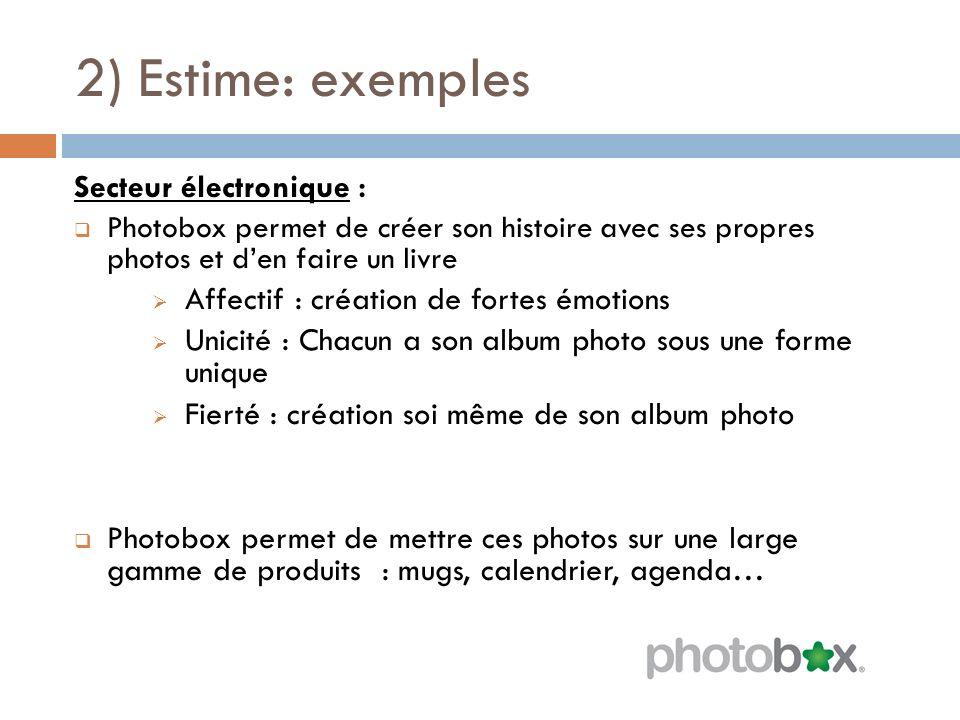 2) Estime: exemples Secteur électronique : Photobox permet de créer son histoire avec ses propres photos et den faire un livre Affectif : création de